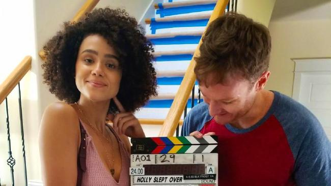 Josh Lawson and Nathalie Emmanuel on set in New York.