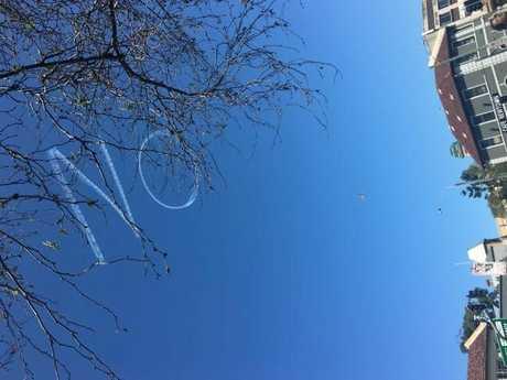 'Vote No' written in the sky above Newtown in Sydney.