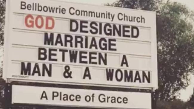 The sign that caused outrage at a Bellbowrie church.