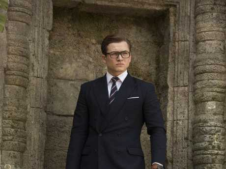Taron Egerton in a scene from the movie Kingsman: The Golden Circle.