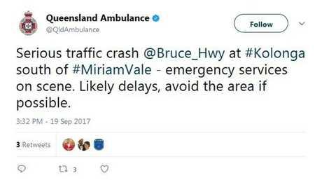 QAS have sent out a tweet about the crash.
