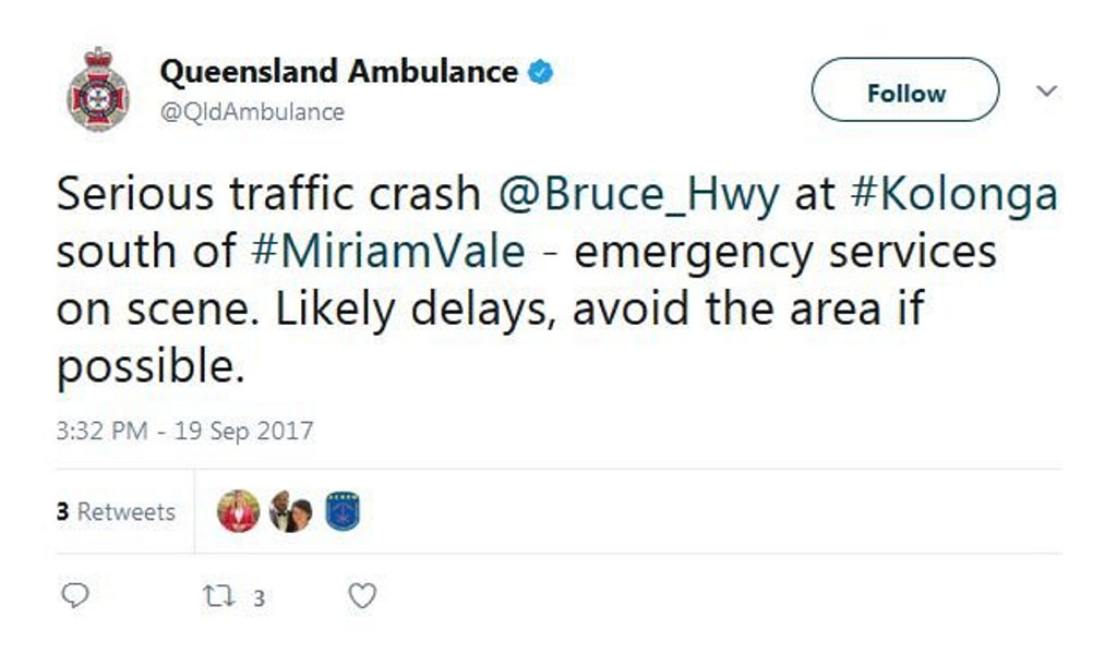 QAS have sent out a tweet about the crash.