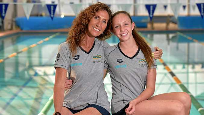 SWIMMING STAR: Lani Pallister's World Junior Swimming Championships in the US resulted in personal bests in two events. Lani is pictured with her coach and mother former Olympic swimmer Janelle Pallister.