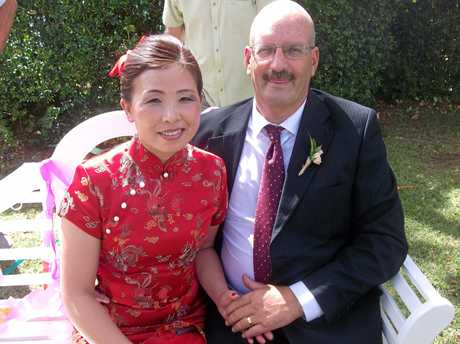Steve Murray and his wife on their wedding day.