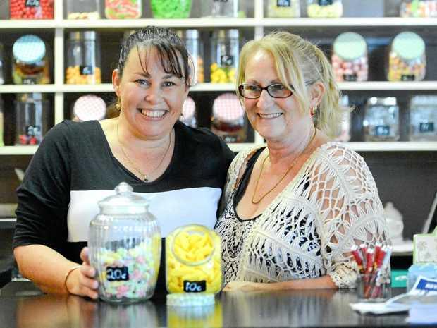 SWEET: Kirsten and Raelee Laney at the shop in Builyan.