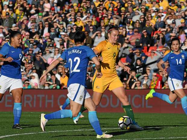 The Matildas' recent success resulted in a sold out Pepper Stadium for their clash with Brazil.