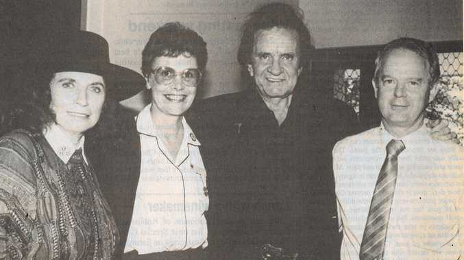 COUNTRY AND BLUES: Johnny Cash and June Carter Cash with former Blue Nursing Supervisor Pat Neilsen and administrator Peter Lee.