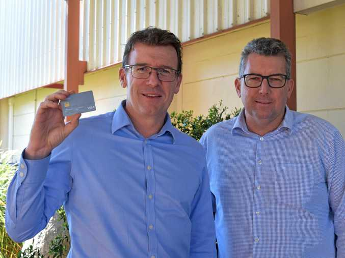 IT'S HAPPENING: Member for Hinkler Keith Pitt and Human Services Minister Alan Tudge in Hervey Bay earlier this year to discuss the cashless welfare card.