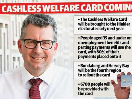 IT'S HAPPENING: Member for Hinkler Keith Pitt and Human Services Minister Alan Tudge will announce the cashless welfare card today.