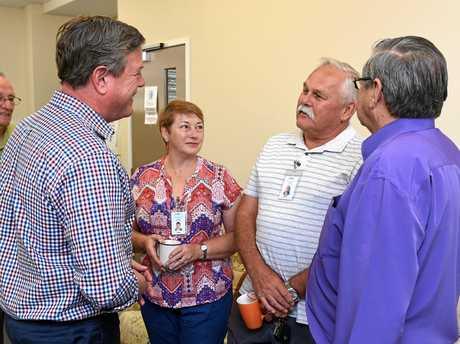 Queensland opposition leader Tim Nicholls and local state member Ted Sorensen meet volunteers Judy and Alan Davis at the Meals on Wheels Fraser Community kitchen in Pialba.