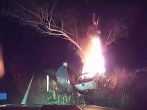 The hero who faced a burning ute to rescue the man inside