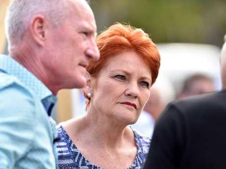 Pauline Hanson and Steve Dickson attend a community BBQ in Buderim.