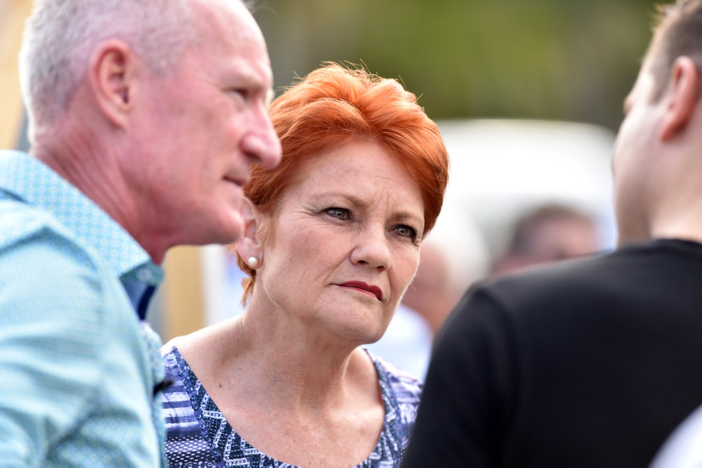 Pauline Hanson and Steve Dickson attend a community BBQ in Buderim.