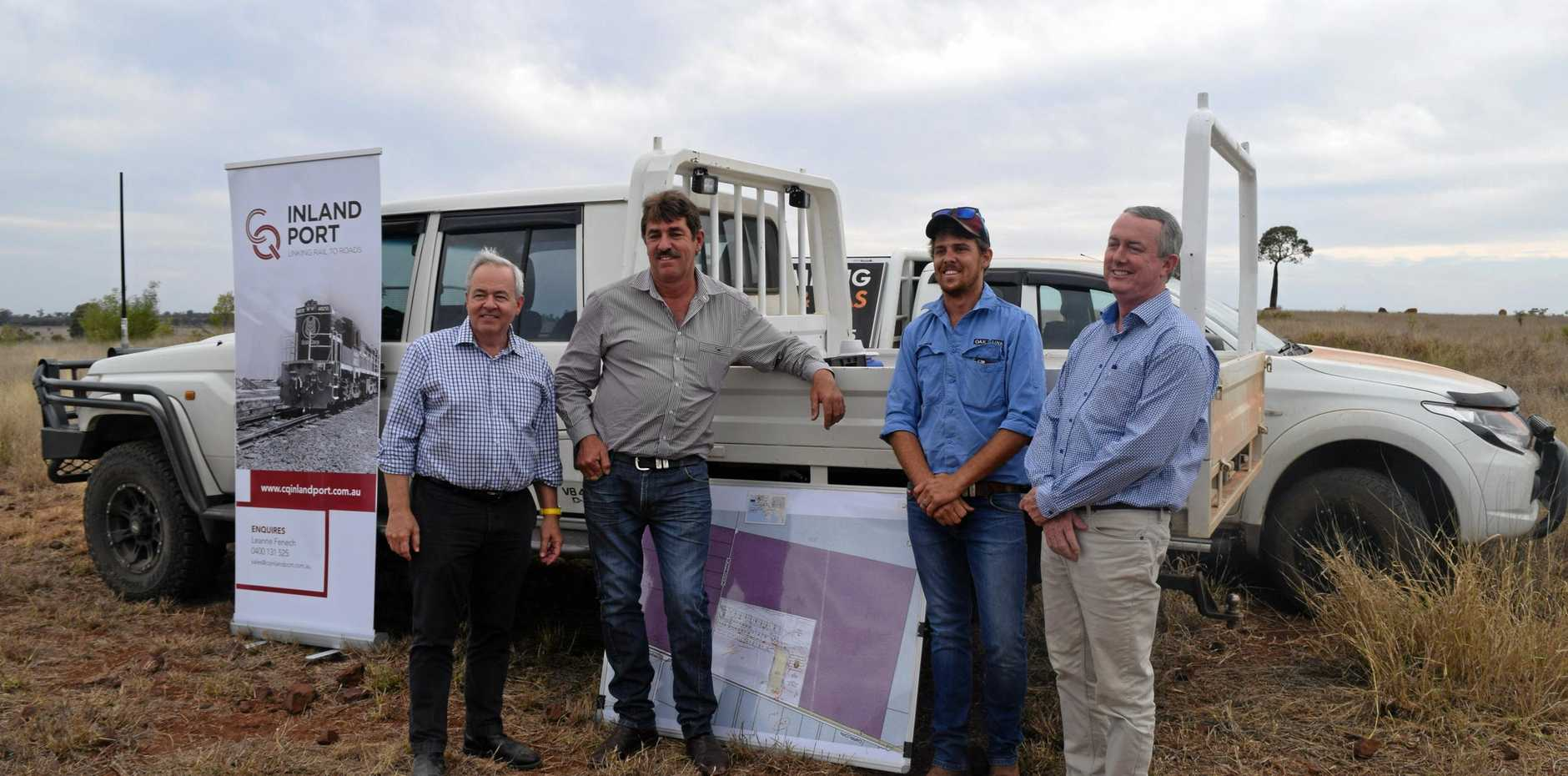 GrainCorp CEO, Mark Palmquist, CQ Inland Port Development manager, Alan Stent-smith, Warrick Stent-smith and transaction agent, Rawdon Briggs at the Central Queensland Inland port development site.