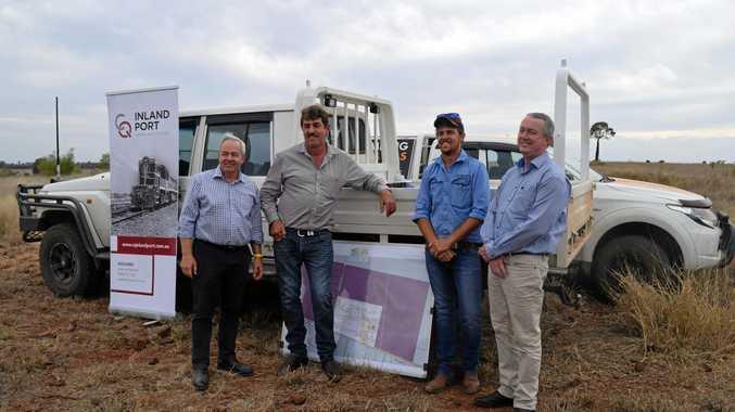 GrainCorp CEO, Mark Palmquist, CQ Inland Port Development manager, Alan Stent-smith, Warrick Stent-smith and transaction agent, Rawdon Briggs at the Central Queensland Inland port development site.