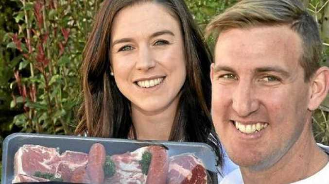 MEAT FOR MEN: Sean Kennedy and his fiance Elizabeth Andrew have figured out their perfect gift for a bloke.