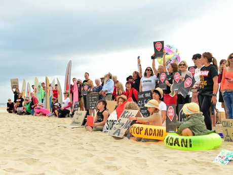 STOP ADANI: Protesters outside Maroochy Surf Club to give voice to visiting deputy Prime Minister Barnaby Joyce.