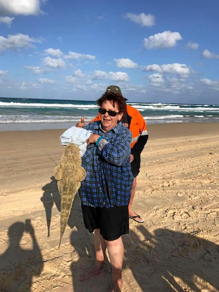 Judy Litfin caught this giant flathead off the eastern beach of Fraser Island on Monday.