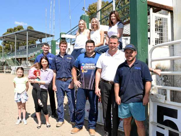 RIDE ON: Warwick Cowboys Bull Ride chute sponsors and organisers are getting ready for the big night, (back) Steve Domjahn, Ali Bartley, Chantelle Cameron, Karen Usher, (front) Indigo, Harper and Tiffany Cruice, Ben Tompkins, Carey Burt, Chris Murphy and Josh McIntosh.
