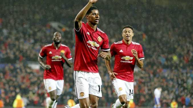 Manchester United's Marcus Rashford (centre) scored twice in the 4-1 win over Burton Albion.