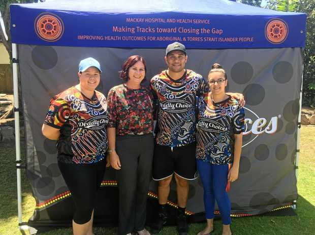 HEALTHY CHOICES: Kalila Parter, Bronwyn Taha, Jharal Yow Yeh and Keisha McEwan at the Proserpine Deadly Choices Day on Wednesday.