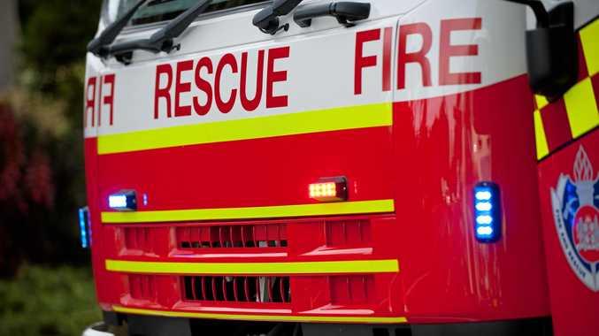 Fire-fighters have raced to an area of coastal heath alight on an Evans Head beach.