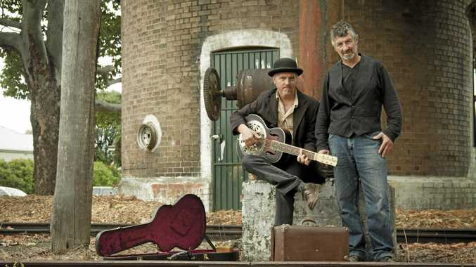 READY TO PLAY: Artists Bill Jacobi and Frank Corby are local duo Method.
