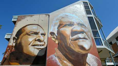 CQ University's latest mural featuring Darumbal elders Mal Mann and Auntie Ollie.