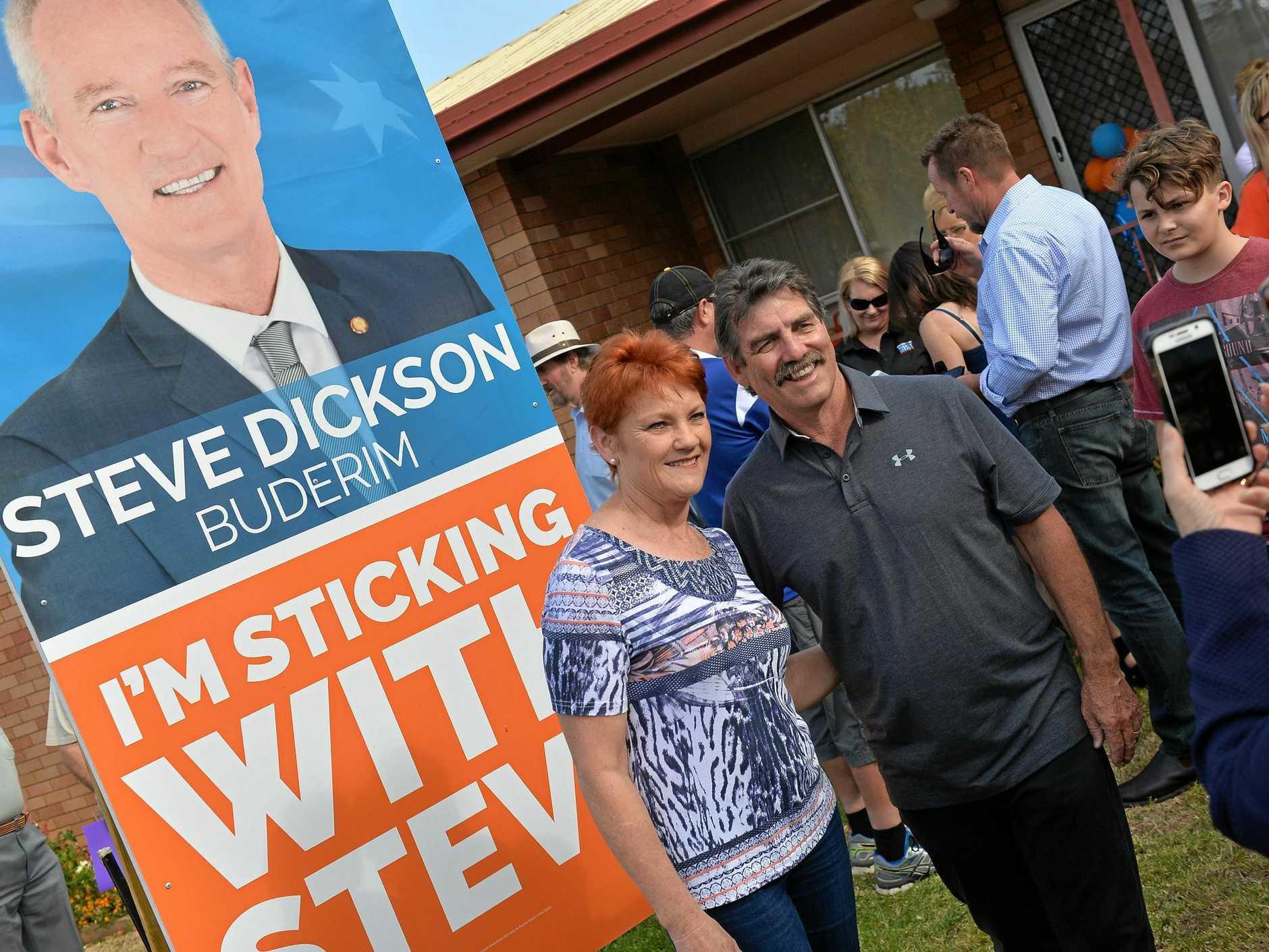 Pauline Hanson and Steve Dickson attend a community BBQ in Buderim. Pauline Hanson and Shane Truscott.