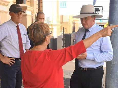 Deputy Prime Minsiter Barnabay Joyce was given a fiery welcome by Widgee resident Lynlie Cross.