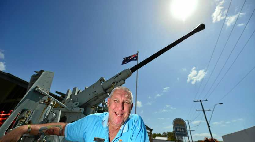 Mark Payne of Coolum-Peregian RSL is saying goodbye to the anti-aicraft gun outside the club.