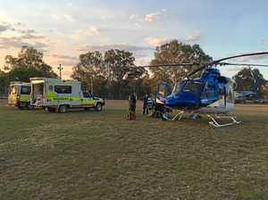 The Toowoomba RACQ LifeFlight Rescue helicopter at Proston airlifting a man suffering head trauma.