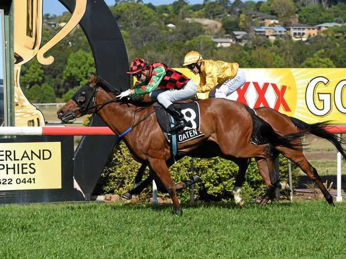 Malmoosa is ridden to victory in the 1516 metre race by Kirk Matheson at the Lismore CUp 2017.