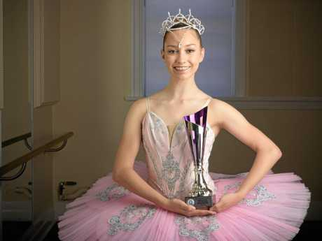 RISING STAR: Madeline Aspinall with the trophy she received for her second place finish in the Rose Cottage Ballet Bursary at the Beenleigh Eisteddfod.