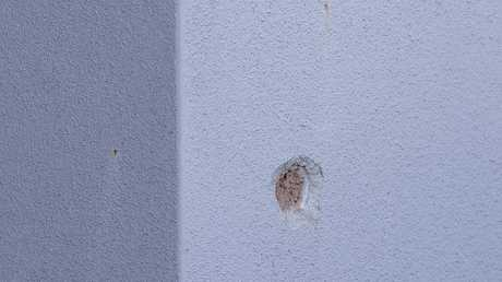 A bullet hole in the wall. Picture: Jerad Williams