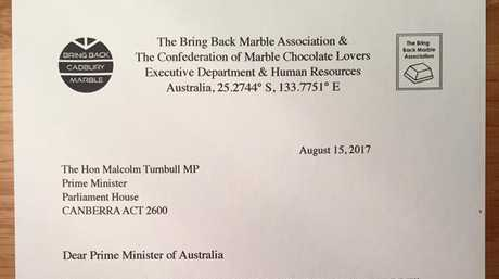 Lovers of Cadbury Marble chocolate took to unusual step of writing to Prime Minister Malcolm Turnbull.