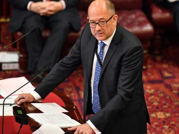 MP Trevor Khan presents his Assisted Dying Bill at NSW State Parliament today. Picture: AAP Image/Mick Tsikas