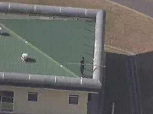 Inmates are on the roof of the Brisbane Youth Detention Centre for the second day in a row. Picture: 7 News Queensland