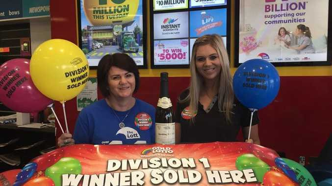 Debbie Markey (left) and Renee Markey from Pittsworth Newsagency are excited the the Pittsworth million-dollar win.