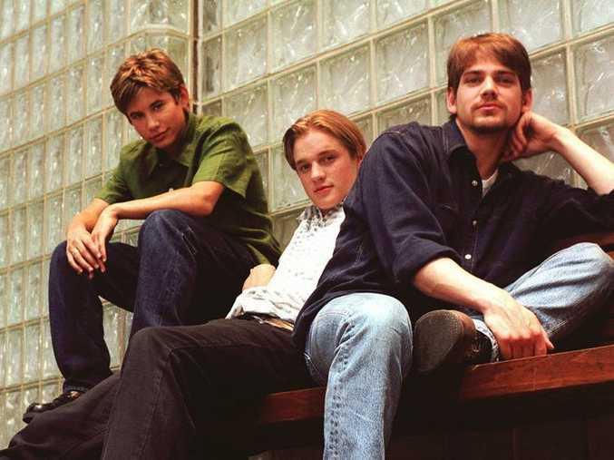 Wild America co-stars Jonathan Taylor Thomas, 15, Devon Sawa, 18, and Scott Bairstow, 27, pose in New York June 26, 1997.