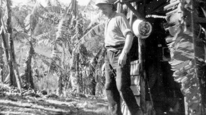 Fred Fink on his banana plantation on the southern slopes of Mount Ninderry in 1967.