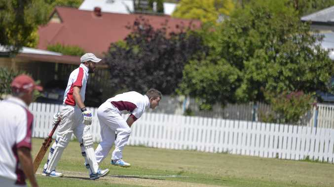 CLUB GAME: James Breen follows through after bowling for Wheatvale at Slade Park.