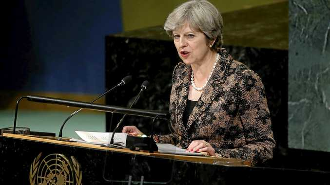 British Prime Minister Theresa May addresses the United Nations General Assembly on Wednesday at UN headquarters in New York.