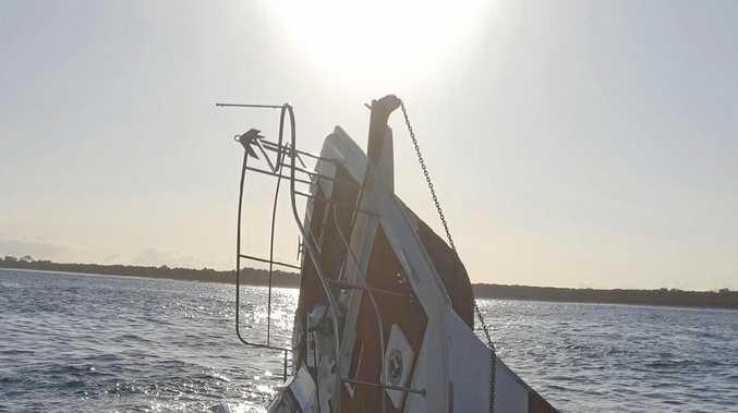 A 55 foot power catamaran sunk off Fraser Island.