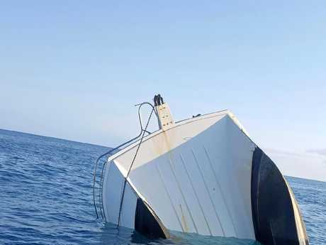 A 55 foot power catamaran sunk off Fraser Island.