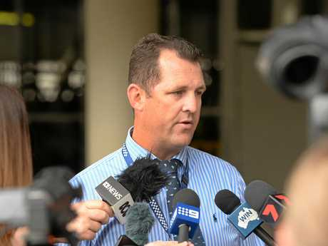 'REVIEWING PROTOCOLS': Acting Detective Inspector Luke Peachey addresses the media at a previous press conference.