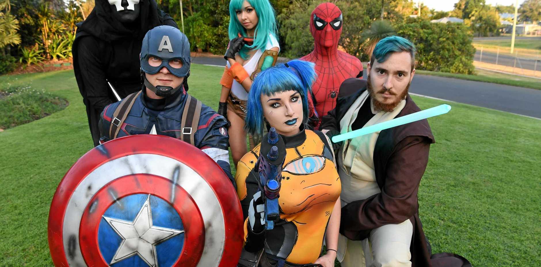 SUPER: Ethan Ramsey as Captain America, Jess Stardust as Maya, Adam Nicol as Jedi Warrior (front), Tim Clark as Darth Nihilus, Amy Thunderbolt as Bulma and Tim Scarborough as Spiderman.