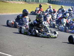 JUNIORS: Seth Mathie (42) shows his style at the Warwick Karting Club day at Sandy Creek .