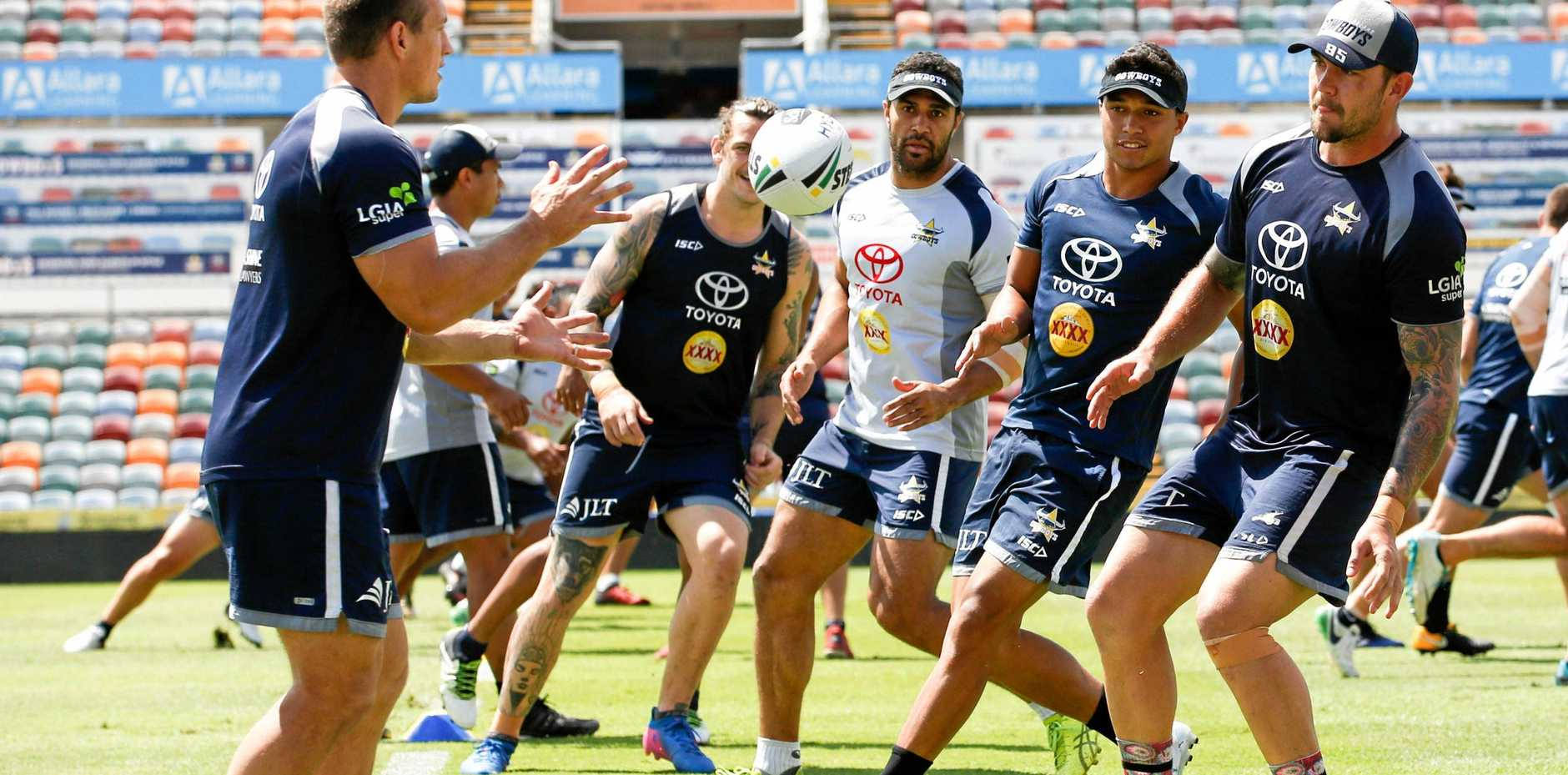 North Queensland Cowboys players go through their paces at training in Townsville ahead of their preliminary final against the Sydney Roosters.