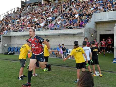 New Zealand Warriors against Melbourne Storm at the Sunshine Coast Stadium. Warriors Ryan Hoffman